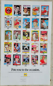 """Pete Rose 4,192 Hit Record 24 x 14"""" Poster 1985 Hertz Promotion Topps Cards"""