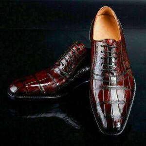 Handmade Men's Burgundy Lace Up Crocodile Embossed Calfskin Leather Dress Shoes