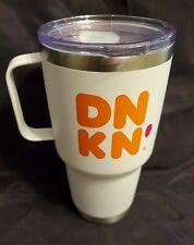 Dunkin Donuts Coffee Tea 28oz Tumbler Pink Stainless Handle Travel Mug RARE