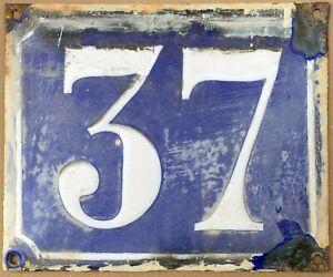 Large old blue French house number 37 door gate plate plaque enamel metal sign