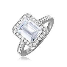 925 STERLING SILVER EMERALD CUT BRIDAL RING W/  DIAMOND  / SZ 5-9/ NEW DESIGN!