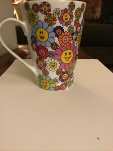 barnes and noble flower smiley face mug