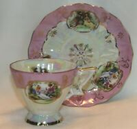 Lefton Hand Painted Pinkish Purple Luster Courting Couple Cup & Saucer