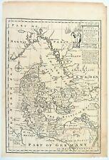 1747 Map Denmark by Emanuel Bowen: Jutland, Zeeland, Funen, Sleswick