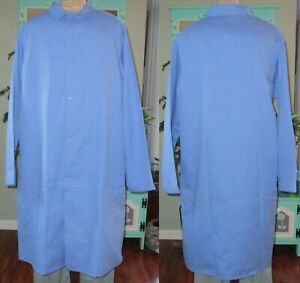 """Best Medical L/S Lab Coat Gown Snaps & Side vents 44"""" Length Sizes L to 5X Blue"""