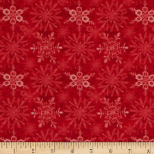 1 x Yard Red Rooster Fabric Snow Fun Snowflakes Red Quilt Patchwork