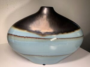 Wide Ceramic Decorative Vase with Narrow Neck Light Blue Drip Glaze Boho Decor