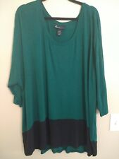 Lane Bryant Green Black Knit Shirt Size 26/28 Z6