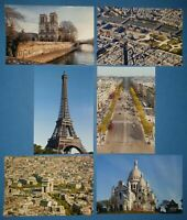 Set of 6 Brand New Glossy Postcards, Paris Landmarks, France