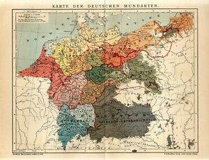 1905 GERMAN LANGUAGES SPOKEN DIALECTS GERMANY FRANCE NETHERLANDS AUSTRIA Map