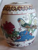 EXQUISITE Chinese Famille Rose Porcelain Vase/JAR  w/ lid HAND PAINTED COLORFUL