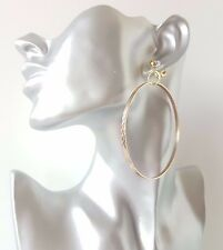 1 pair of gorgeous large patterned gold tone hoop drop CLIP ON earrings, AJL
