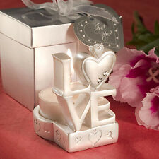 12 Stacked Love Design Candle Holders Bridal Shower Wedding Favors