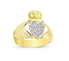 9CT GOLD SOLID CZ CLADDAGH CLADDA CELTIC HEART IN HANDS CROWN RING BAND GIFT BOX