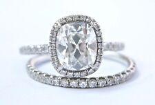 Vintage Platinum Old Miner Cushion Cut Diamond Engagement Set 2.23Ct G-VS1 GIA