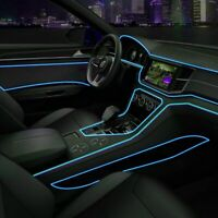 Cold Blue Car LED EL Wire Light Strip Interior Atmosphere Glow Neon Lamp Decor