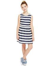 BNWT M&S Girls Navy Blue White Stripe Sun Summer Dress 5-6 Years
