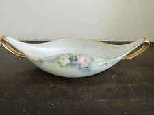 T&V  Limoges France Hand Painted Pickle Relish Candy Dish Roses