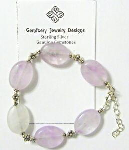 Sterling Silver Natural AMETHYST Gemstone Bead Bracelet #1614...Handmade USA