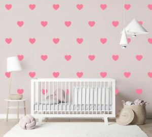 Heart Wall Stickers Circle Children's Bedroom Decal Nursery Wall Art Sticker