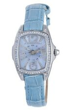 Chronotech Women's Watch CT.7948LS/01 Square Crystals Blue Dial Blue Leather
