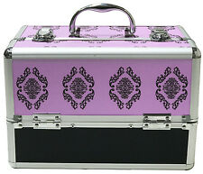 Purple Large Beauty Damask Cosmetic Box Make Up Vanity Case Nail Tech Salon Bag