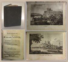 Groß Reisetaschenbuch für Donaufahrer Erstausgaeb 1830 Reiseführer Donauführer