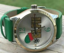 Christmas Watch Green Band Vegan Leather Holiday Analog Silver Case Wrist Watch