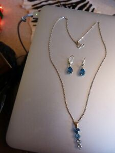 London Blue Topaz 9ct Yellow Gold Necklace and Earrings set