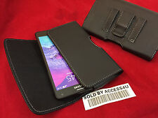 HORIZONTAL BLACK LEATHER CASE BELT CLIP POUCH HOLSTER FOR SAMSUNG GALAXY NOTE 4