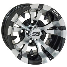 (One) Golf Cart Gtw Vampire 10 inch Machined and Black Wheel With 3:4 Offset