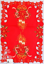 """Red Christmas Placemat/ Runner Embroidered Candle Bell, 41x61cm (16""""x24"""") FFD007"""