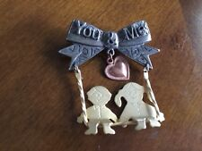 & Girl On Swing Moveable Pin Vintage Metal You & Me Boy