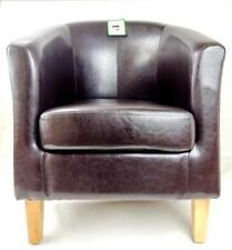 Armchair TUB Chair Sofa BROWN Bonded Leather Office Reception Dining Living Room