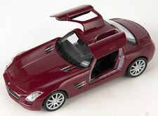BLITZ VERSAND Mercedes SLS AMG bordeaux Welly Modell Auto 1:34 NEU & OVP