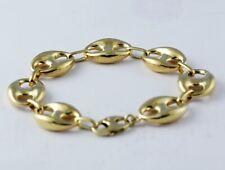 "16.50 gm 14K Yellow Gold Men's / Women's Puff Mariner Chain Bracelet 8"" 13 mm"