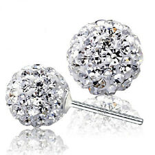 High Brand Women Disco Ball Crystal Ear Studs Earrings 925 Sterling Silver Pair