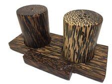 Salt Pepper Shaker Palm Wooden Box Storage Kitchenware Holder Cylinder shape