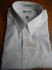MEN'S VAN HEUSEN WHITE SATIN STRIPE SHIRT; XL (17; 34/35) NEW W/T; $37.50 RETAIL