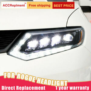 For Nissan Rogue Headlights assembly LED Lens Projector ALL LED DRL 2014-2016