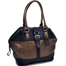 New Dasein Mesh Panel Women Leather Handbag Tote Bag Shoulder Bag Travel Purse