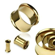 PAIR 1/2 GAUGE  GOLD PLATED OVER 316L STAINLESS STEEL DOUBLE FLARE TUNNEL PLUG