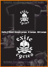 EXILE CYCLES SKULL AND CROSS BONES T-SHIRT custom bikes