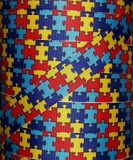 """5 yds 1"""" RAINBOW AUTISM AWARENESS PUZZLE GROSGRAIN PRINTED RIBBON 4 HAIRBOW BOW"""
