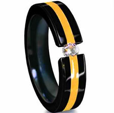 Accent & Cubic Zirconia, size 10 Titanium Black Plated Tension Ring with Gold