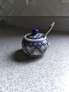 Polish Pottery Sugar Bowl With Lid & Spoon. New Original.