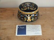 Boîte bonbonnière en faïence Gien Renaissance avec certificat !