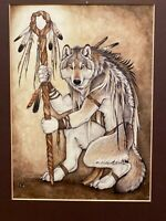 """Medicine Wolf"" Original Whimsical Watercolor By Christy ""Goldenwolf"" Grandjean"