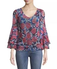 New Fuzzi Rose-Print Ruffle-Sleeve Top Size XL MSRP $395