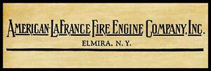 "American LaFrance Fire Engine Co., Elmira New York New Metal Sign: 6"" x 18"" Long"